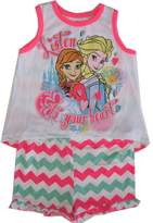 Disney Little Girls Neon Anna Elsa Chevron Stripe Tank Top Shorts Set