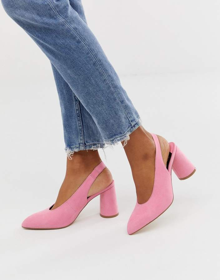 15ae4c69501 pink slingback cylinder heeled shoes