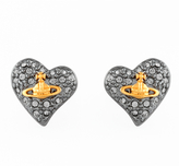 Vivienne Westwood Women's Tiny Diamante Heart Stud Earrings Black