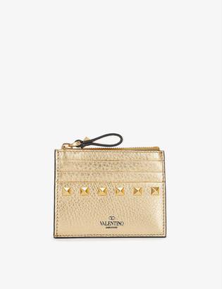 Valentino Rockstud metallic leather zip card holder
