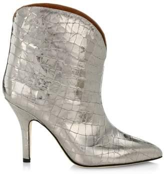 Paris Texas Metallic Croc-Embossed Leather Ankle Boots