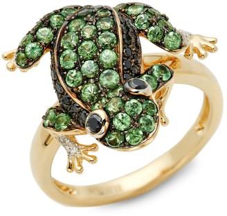 Effy 14K Yellow Gold Tsavorite, Black & White Diamond Frog Ring