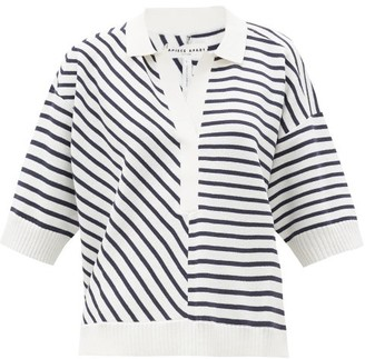 Apiece Apart Clara Striped Short-sleeved Cotton-blend Sweater - Navy White