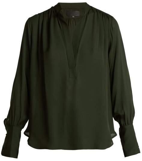 Nili Lotan Collette Silk Blouse - Womens - Dark Green