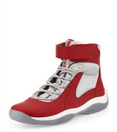 Prada Punta Ala High-Top Sneaker, Red