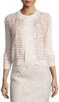 Oscar de la Renta Tiered Sequin Knit Cardigan, Light Pink