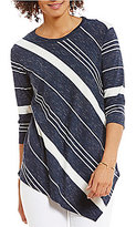 Vince Camuto Two by 3/4 Sleeve Asymmetric Variegated Stripe Top