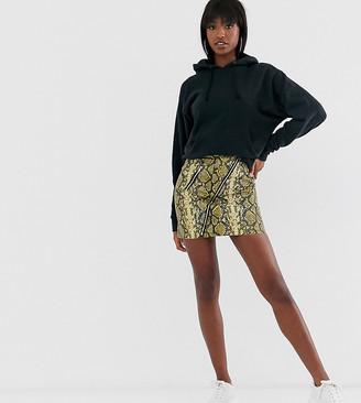 Asos DESIGN Tall snake skin mini skirt with zip detail