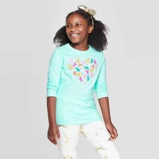 Cat & Jack Girls' Long Sleeve Unicorn Heart Graphic T-Shirt Aqua