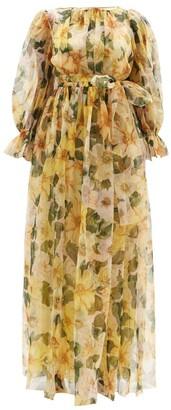 Dolce & Gabbana Camellia-print Gathered Silk-organza Gown - Yellow Multi