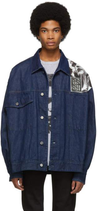 Raf Simons Navy Denim Oversized Punkette Jacket