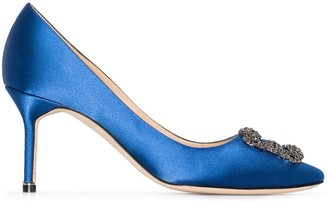 Manolo Blahnik blue Hangisi 70 silk satin leather pumps