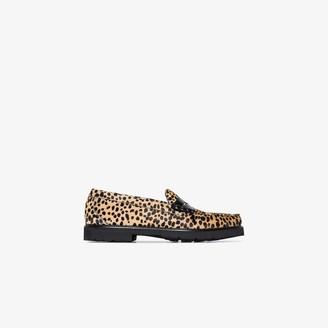 G.H. Bass & Co. brown and black Weejun 90s Larson cheetah print loafers