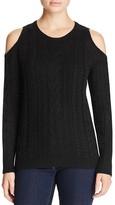 Aqua Cable Knit Cold Shoulder Sweater