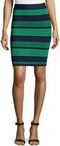 Halston Striped Sweater Knit Pencil Skirt, Navy/Grass