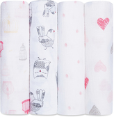 Aden Anais 47'' x 47'' Lovebird Classic Swaddle Blanket - Set of Four