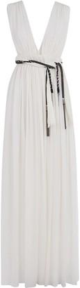 Saint Laurent V-neck Pleated Dress