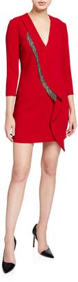 Pinko Long-Sleeve Crepe Embellished Dress