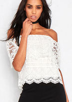 Missy Empire Nolita White Crochet Cold Shoulder Top