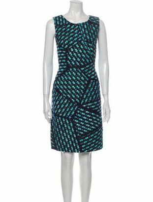 Oscar de la Renta Printed Knee-Length Dress Blue