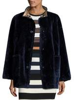 Opening Ceremony Culver Reversible Faux-Fur Coat, Deep Navy/Multicolor
