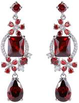 Ever Faith Women's CZ December Birthstone Floral Teardrop Bridal Dangle Earrings Silver-Tone