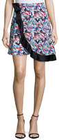 Prabal Gurung Wrap-Front Circle Skirt, Crimson Paint