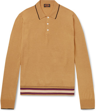 Tod's Contrast-Tipped Knitted Merino Wool And Silk-Blend Polo Shirt
