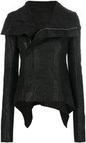 Rick Owens high low biker jacket - women - Silk/Cotton/Leather/Wool - 40