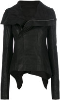 Rick Owens high low biker jacket - women - Silk/Cotton/Leather/Wool - 42