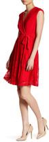 Taylor Surplice V-Neck Front Faux Wrap Lace Dress