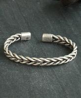 Nautilus Silvertone Braid Cuff