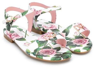 Dolce & Gabbana Crystal-Embellished Rose Print Sandals