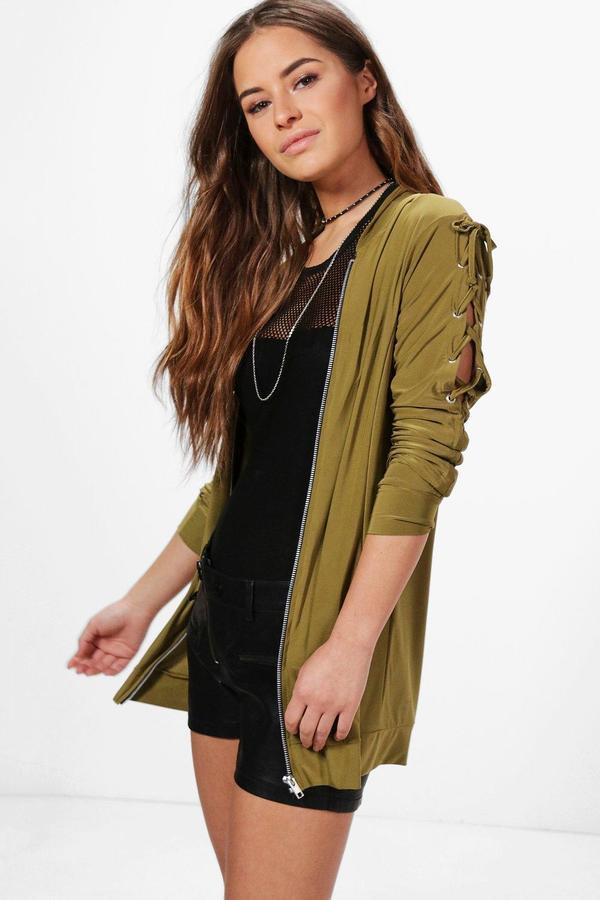boohoo Petite Lola Lace Up Sleeve Bomber Jacket olive