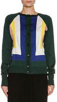 Marni Intarsia Knit Button Cardigan, Spherical Green