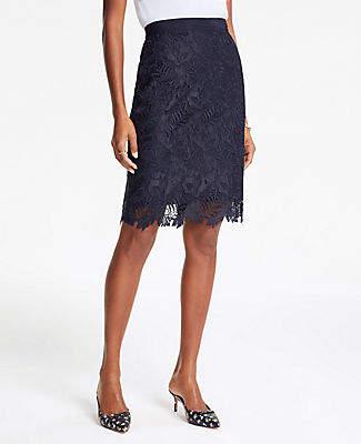 Ann Taylor Curvy Lace Pencil Skirt