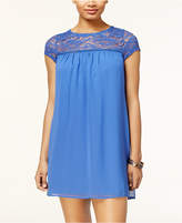 As U Wish Juniors' Lace-Yoke Shift Dress
