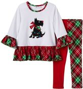 Bonnie Jean Toddler Girl Scottie Dog Top & Split Pattern Leggings Set