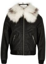 River Island Girls black faux fur collar bomber jacket