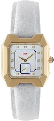 Matthew Williamson Women's Quartz Watch with White Dial Analogue Display and White Leather Strap LSM33002/06