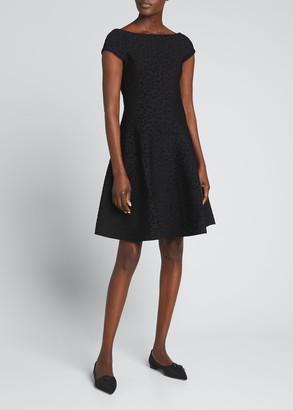 Carolina Herrera Leopard Jacquard Fit-and-Flare Dress