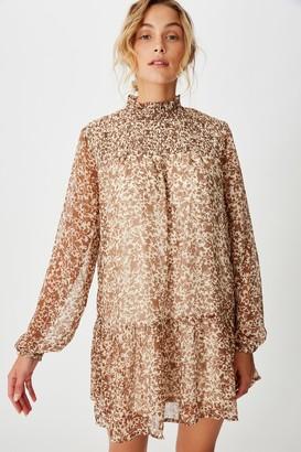 Cotton On Woven Mish Shirred Mock Neck Mini Dress