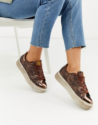 Xti lace up metallic trainers in snake-Copper