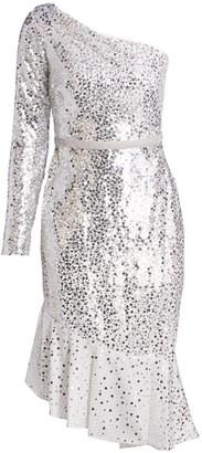 Marchesa Sequin One-Shoulder Sheath Dress