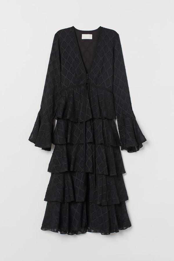 H&M Jacquard-patterned Dress - Black
