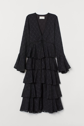 H&M Jacquard-patterned Dress - Black