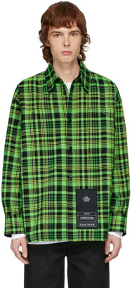 S.R. STUDIO. LA. CA. Green Open-Weave Check Oversized Shirt