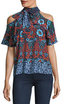 Parker Floral-Print Necktie Cold-Shoulder Silk Top