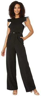 Calvin Klein Ruffle Arm Jumpsuit with Contrast Lining (Black/Cream) Women's Jumpsuit & Rompers One Piece