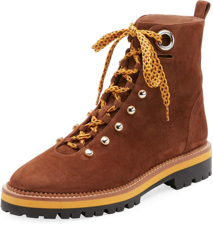 Aquazzura Flat Suede Lace-Up Hiker Boot